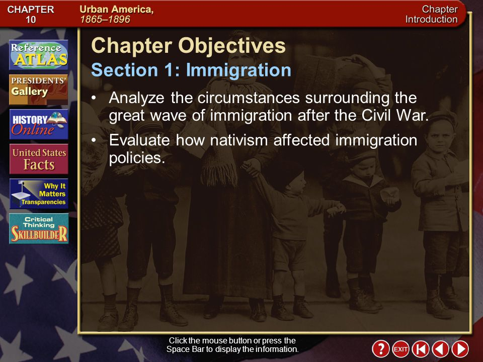Chapter Objectives Section 1: Immigration