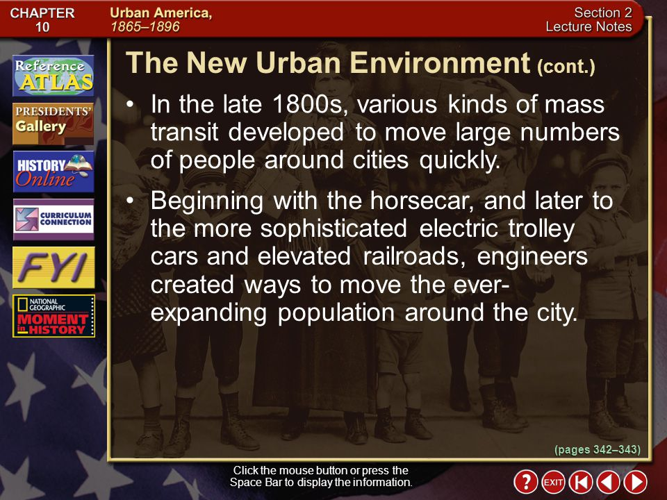 The New Urban Environment (cont.)