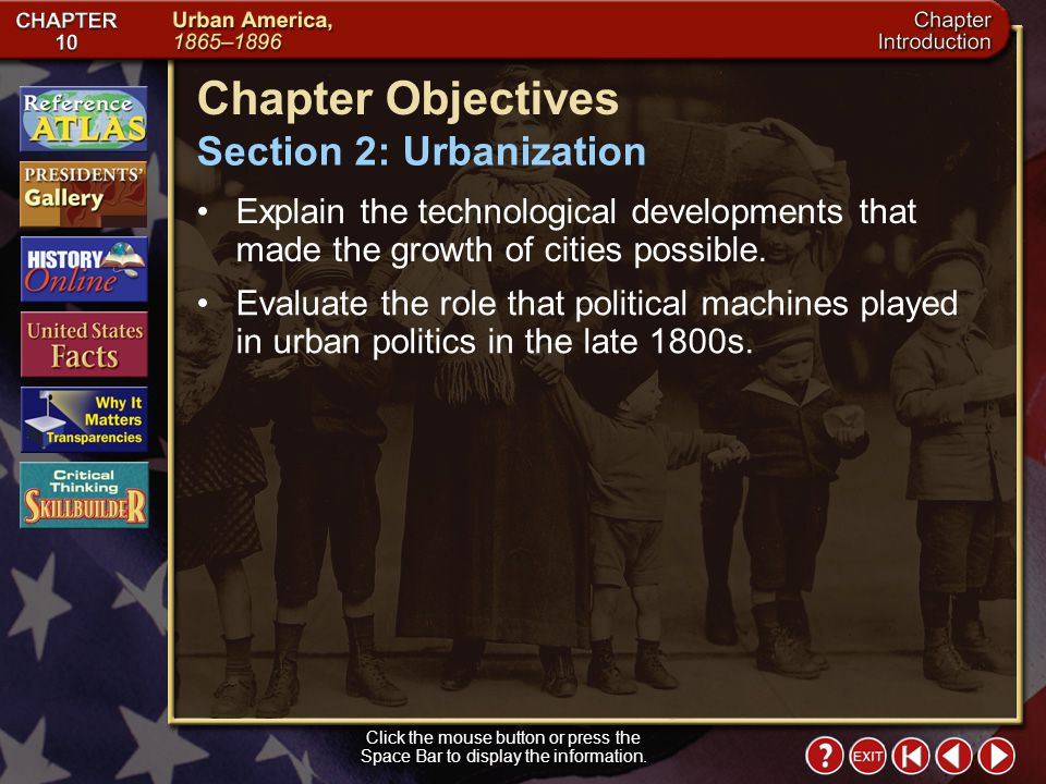 Chapter Objectives Section 2: Urbanization