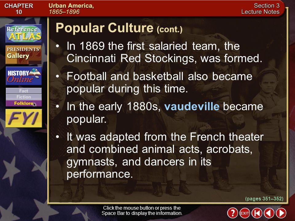 Popular Culture (cont.)