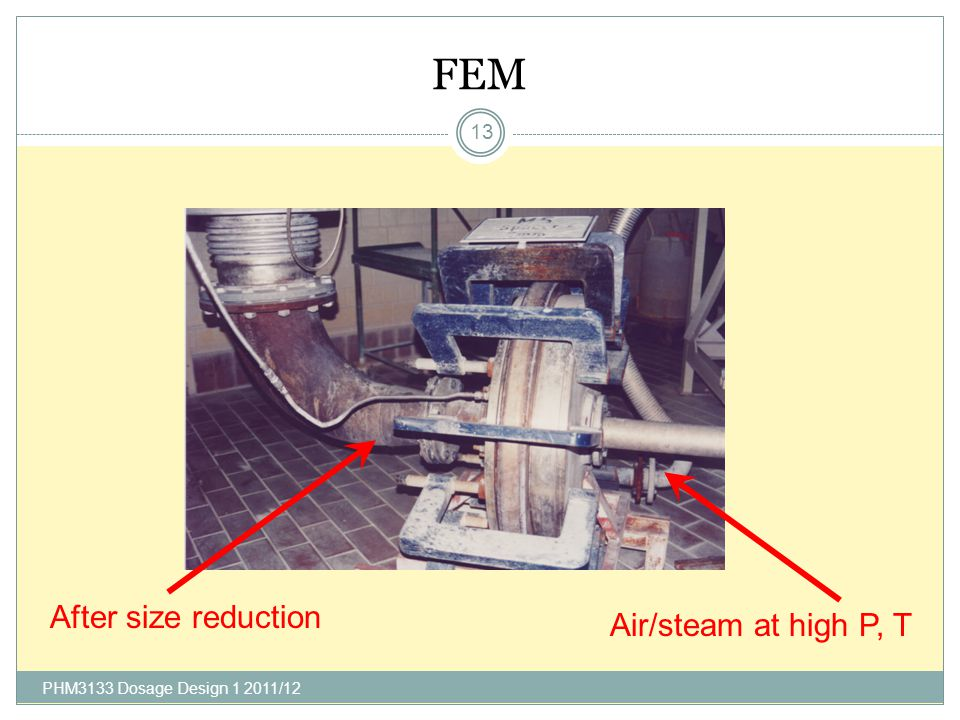 FEM After size reduction Air/steam at high P, T