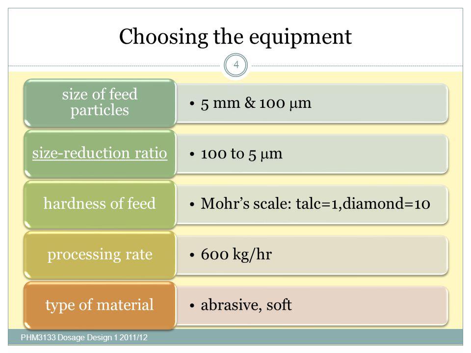 Choosing the equipment