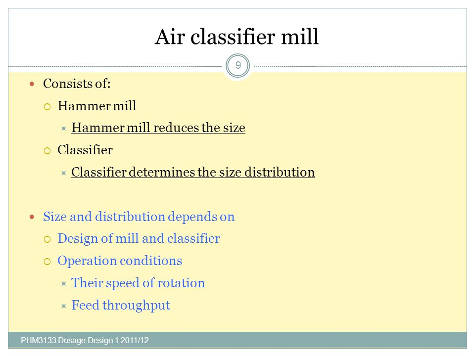 Air classifier mill Consists of: Hammer mill