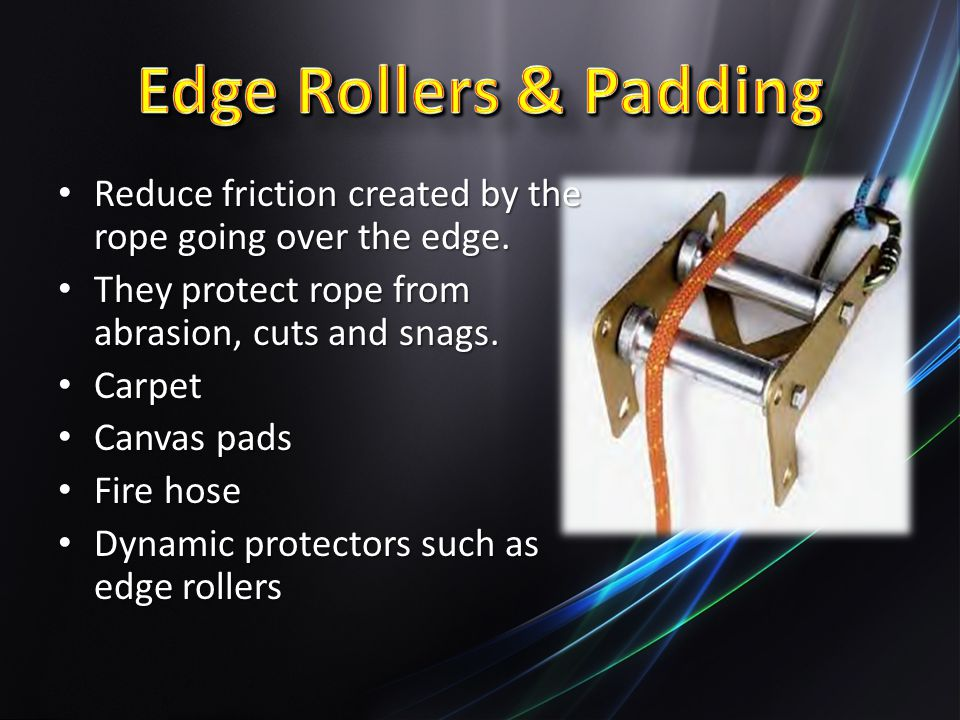 Edge Rollers & Padding Reduce friction created by the rope going over the edge. They protect rope from abrasion, cuts and snags.
