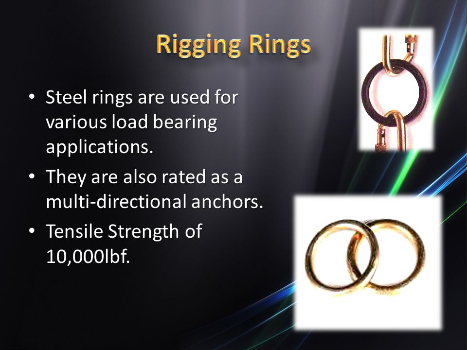Rigging Rings Steel rings are used for various load bearing applications. They are also rated as a multi-directional anchors.