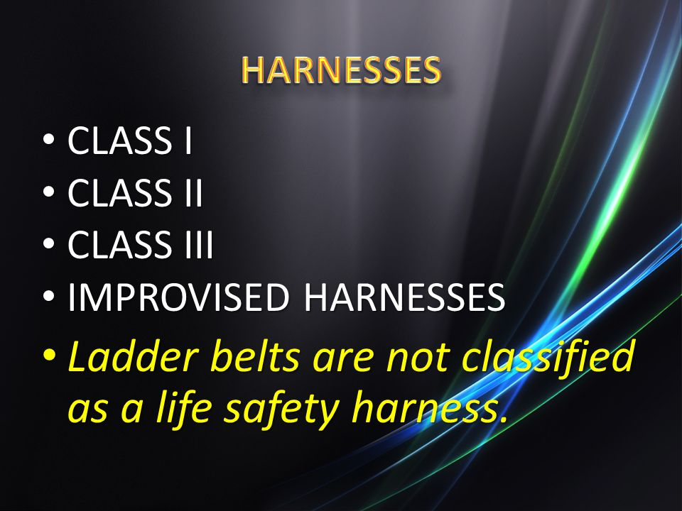 Ladder belts are not classified as a life safety harness.