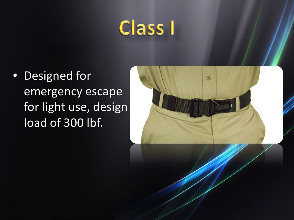 Class I Designed for emergency escape for light use, design load of 300 lbf.