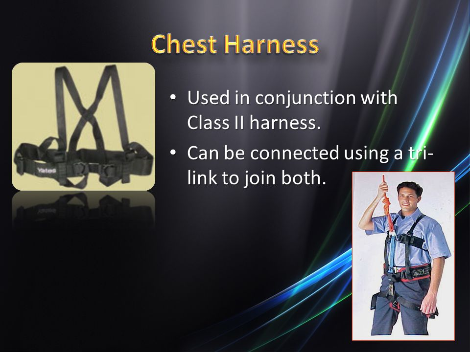 Chest Harness Used in conjunction with Class II harness.