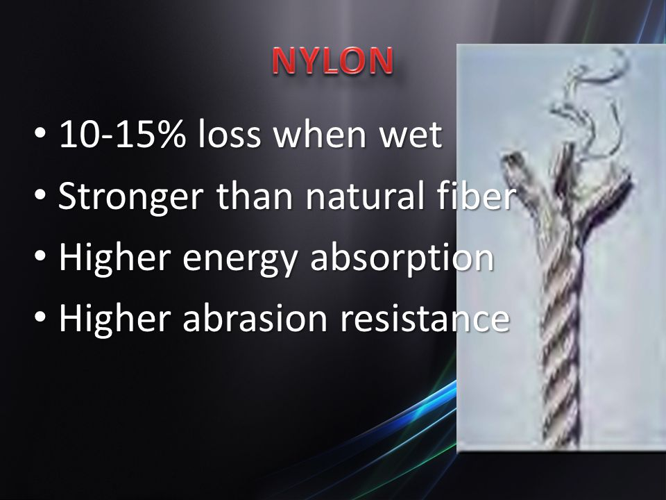 Stronger than natural fiber Higher energy absorption
