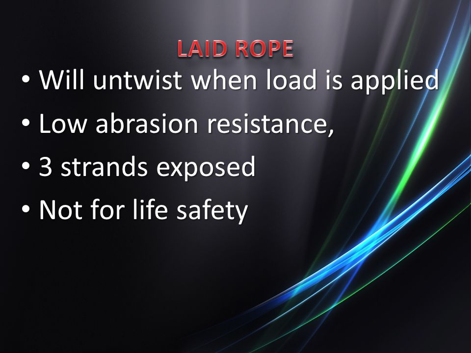 Will untwist when load is applied Low abrasion resistance,