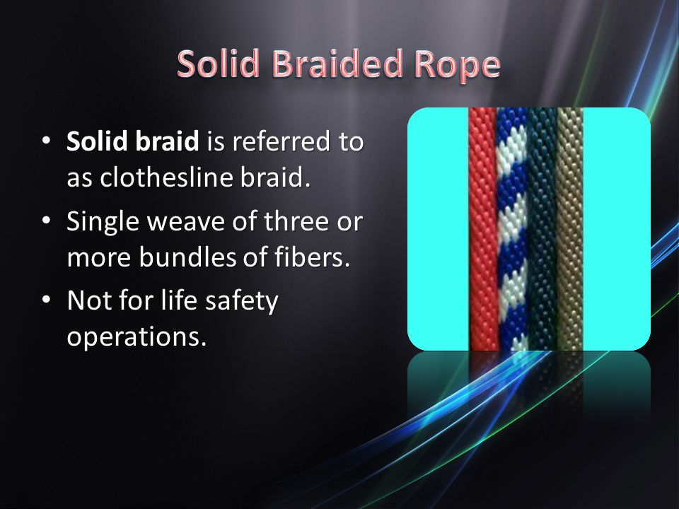 Solid Braided Rope Solid braid is referred to as clothesline braid.