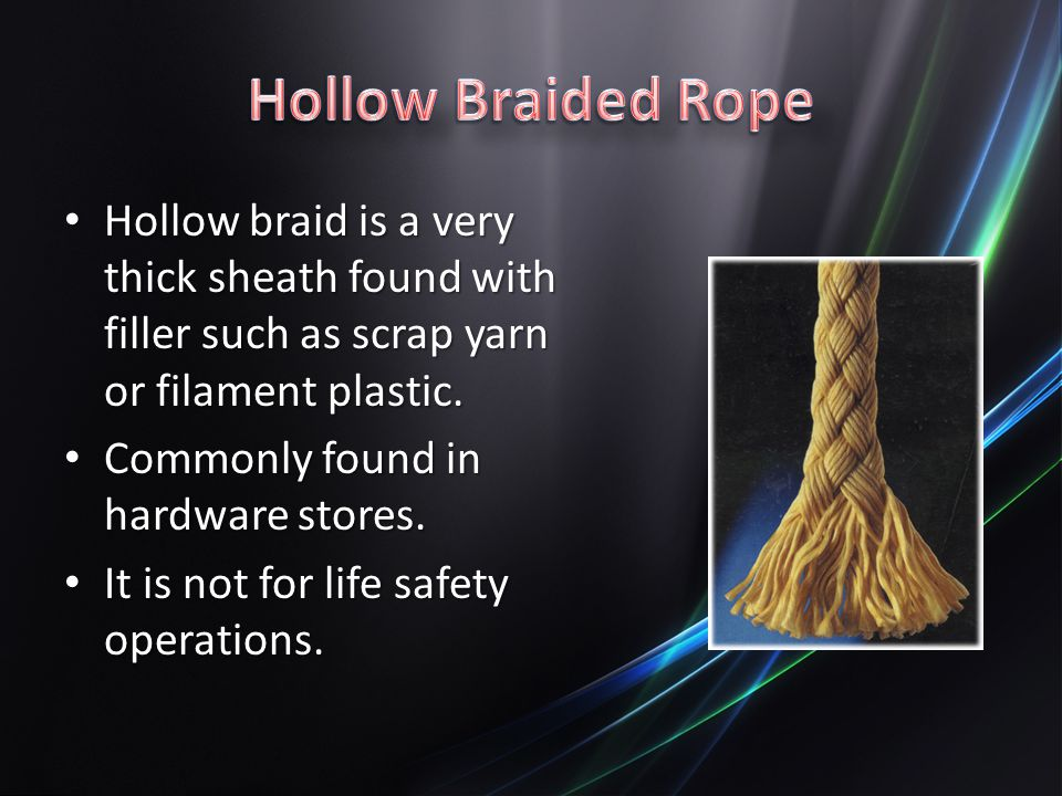 Hollow Braided Rope Hollow braid is a very thick sheath found with filler such as scrap yarn or filament plastic.