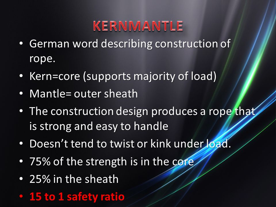 KERNMANTLE German word describing construction of rope.
