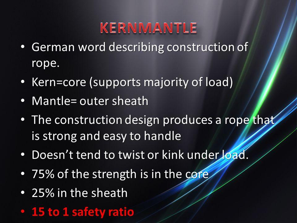 KERNMANTLE German word describing construction of rope.
