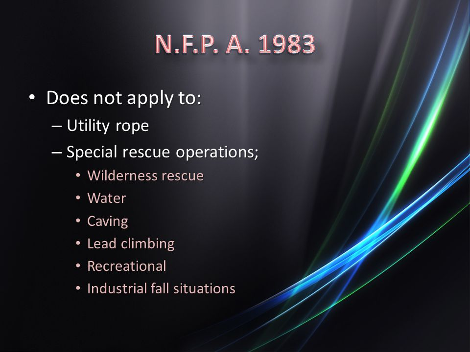 N.F.P. A. 1983 Does not apply to: Utility rope