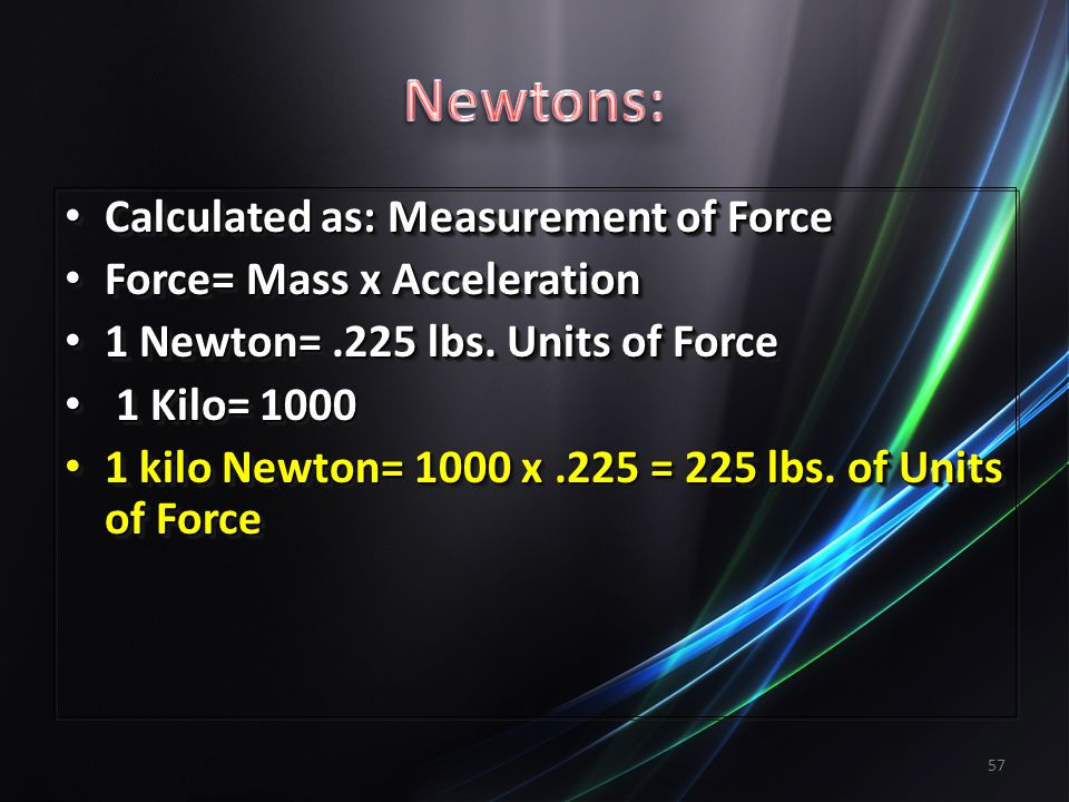Newtons: Calculated as: Measurement of Force