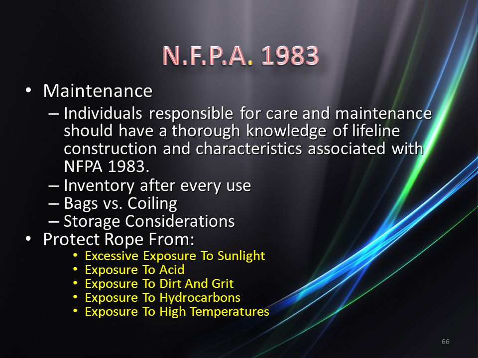 N.F.P.A. 1983 Maintenance Protect Rope From: