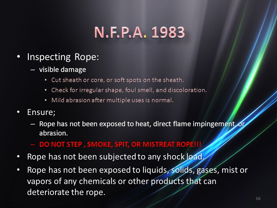 N.F.P.A. 1983 Inspecting Rope: Ensure;