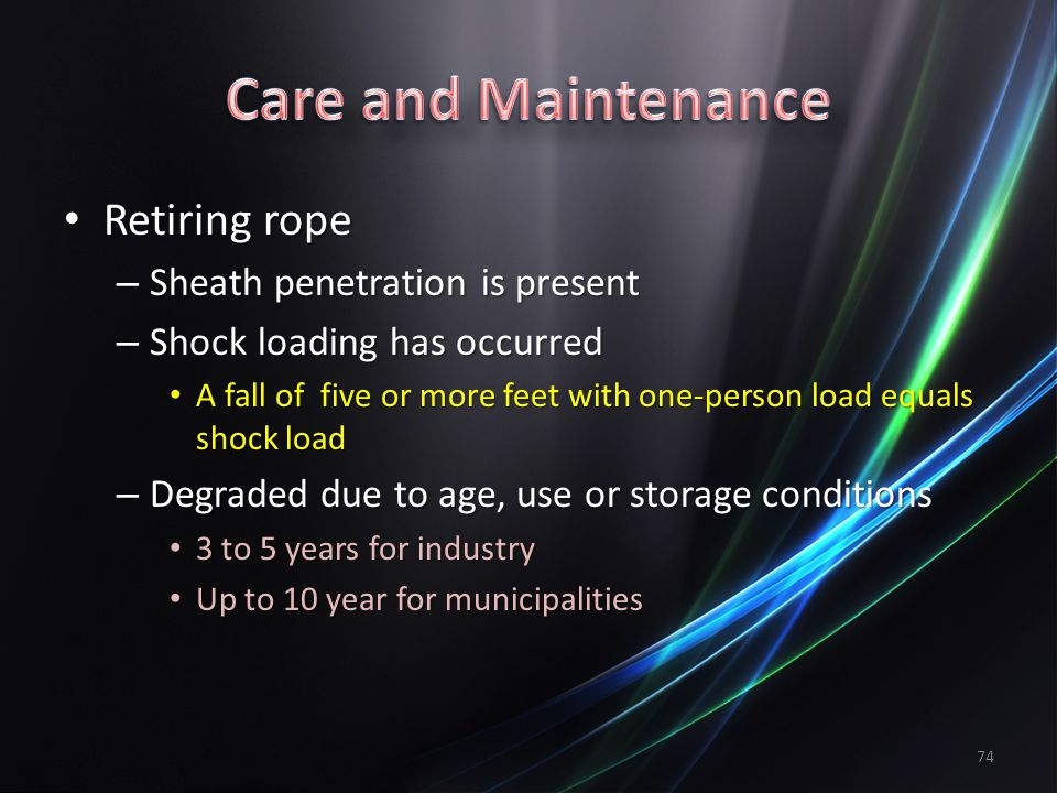 Care and Maintenance Retiring rope Sheath penetration is present