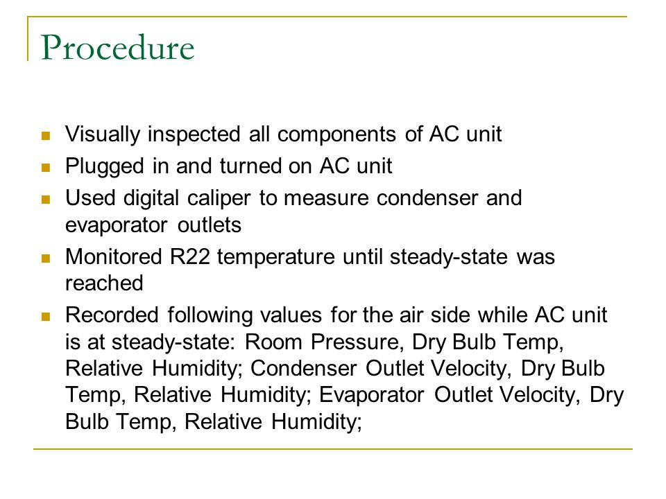 Procedure Visually inspected all components of AC unit
