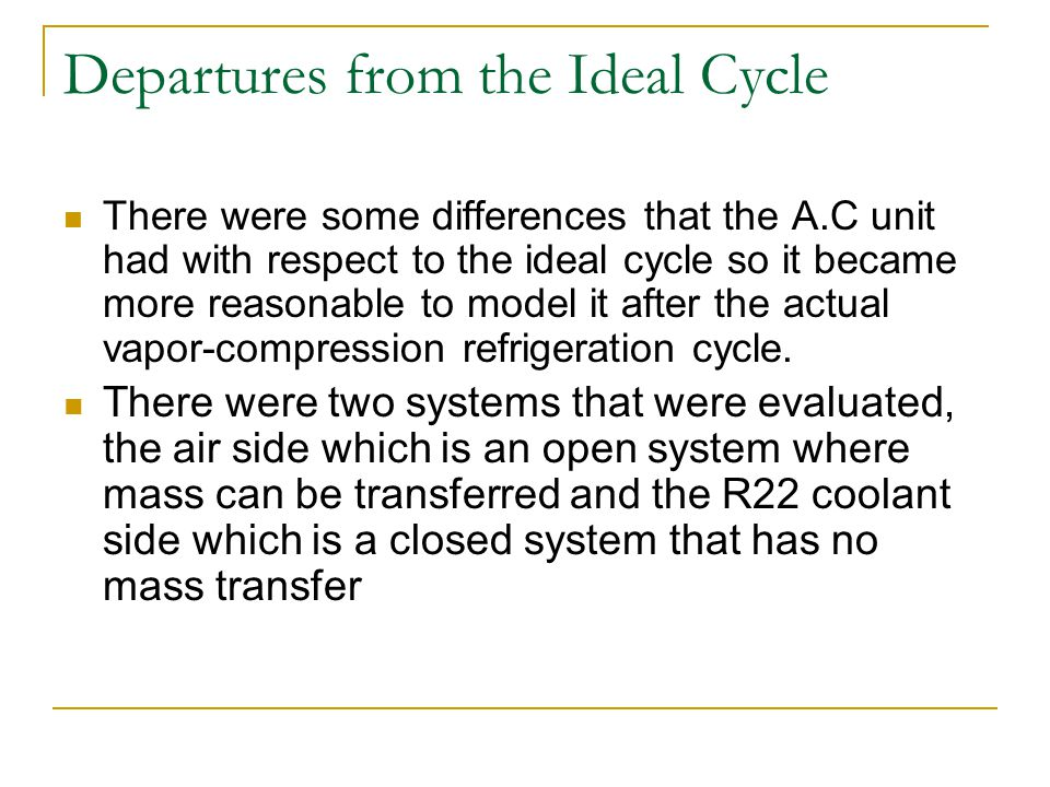 Departures from the Ideal Cycle