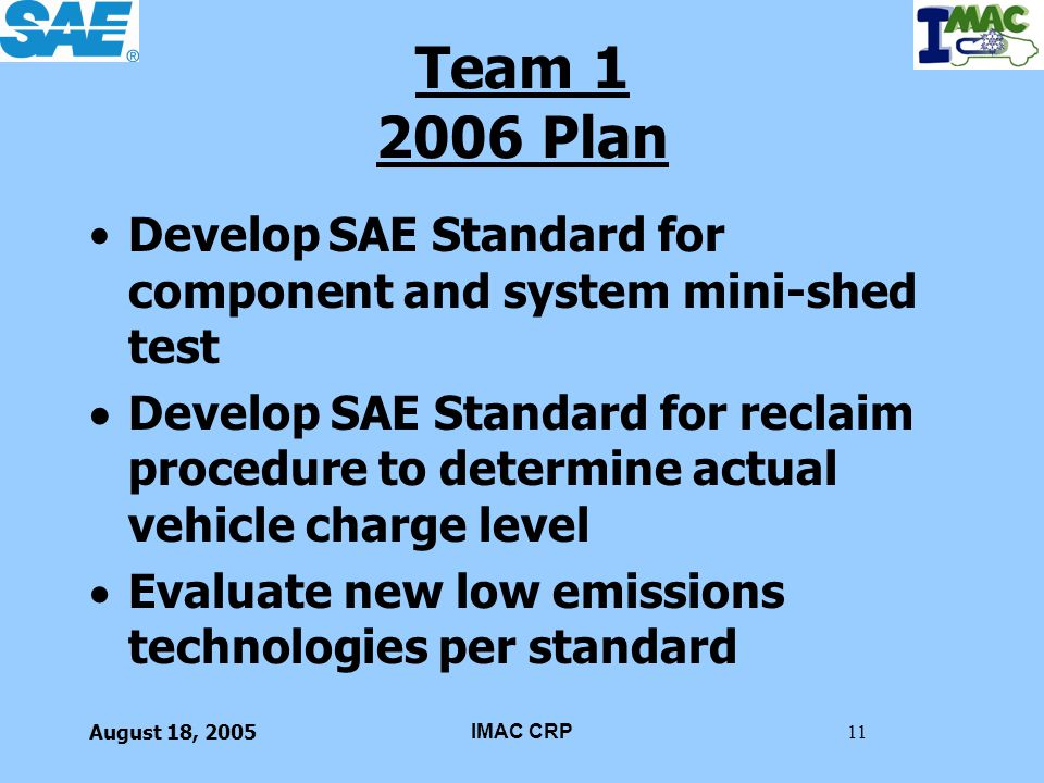 Team 1 2006 Plan Develop SAE Standard for component and system mini-shed test.