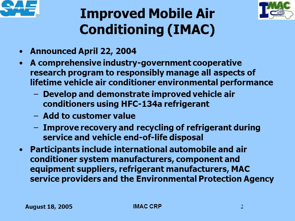 Improved Mobile Air Conditioning (IMAC)