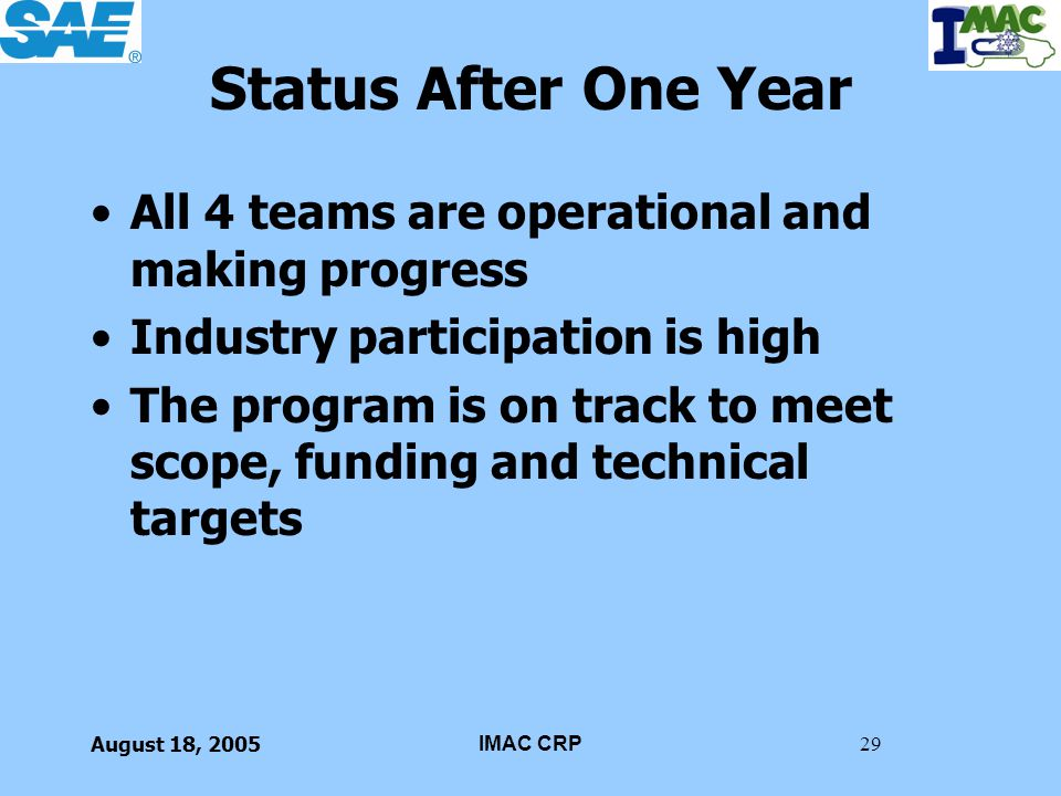 Status After One Year All 4 teams are operational and making progress