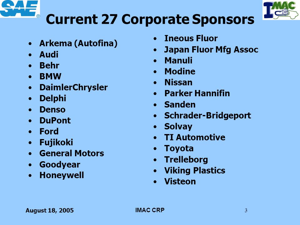Current 27 Corporate Sponsors