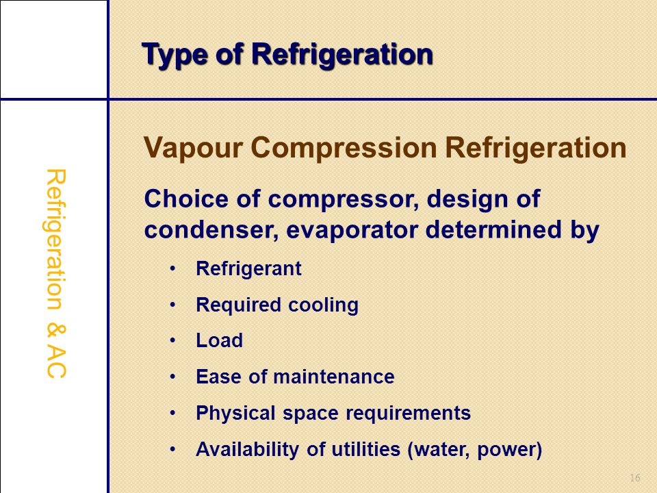 Vapour Compression Refrigeration