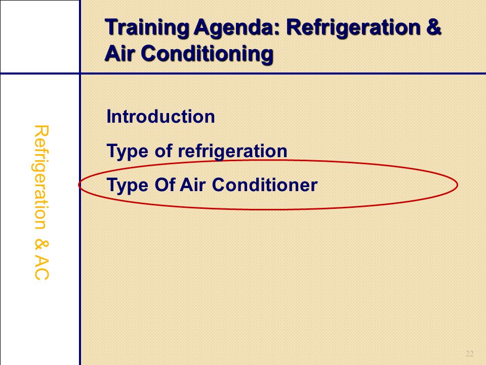 Training Agenda: Refrigeration & Air Conditioning