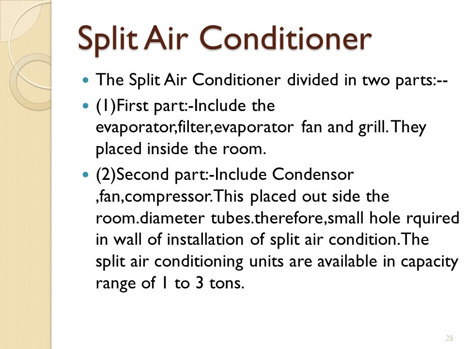 Split Air Conditioner The Split Air Conditioner divided in two parts:--