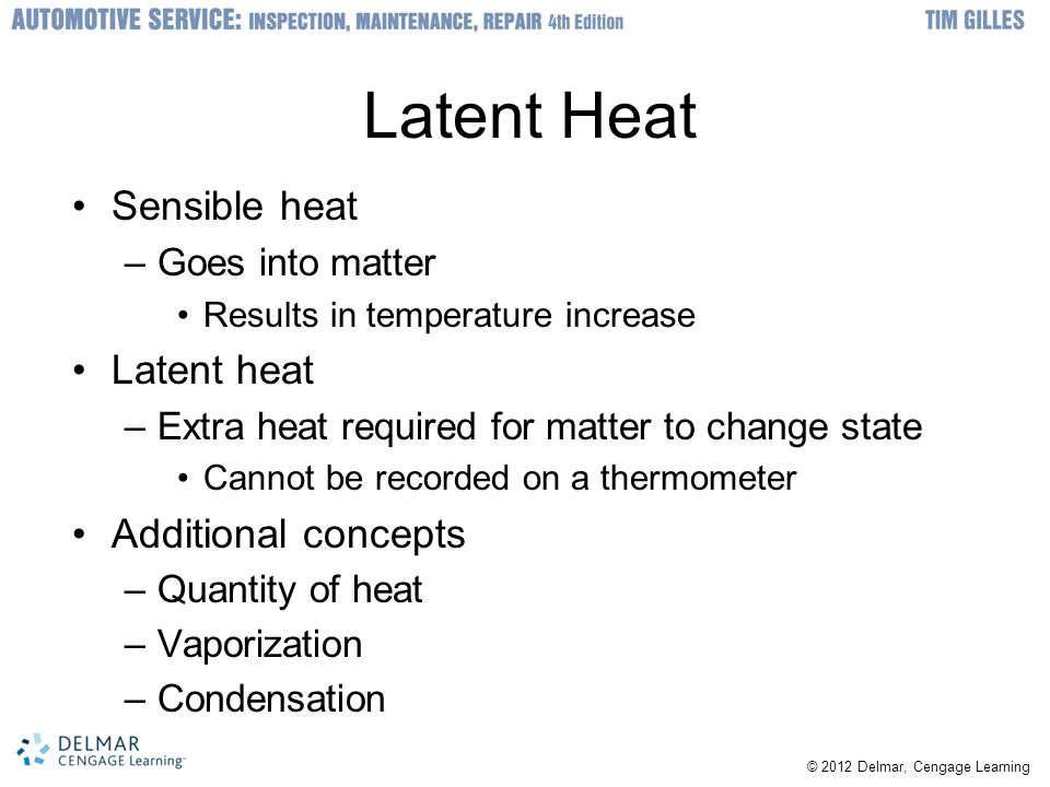 Latent Heat Sensible heat Latent heat Additional concepts