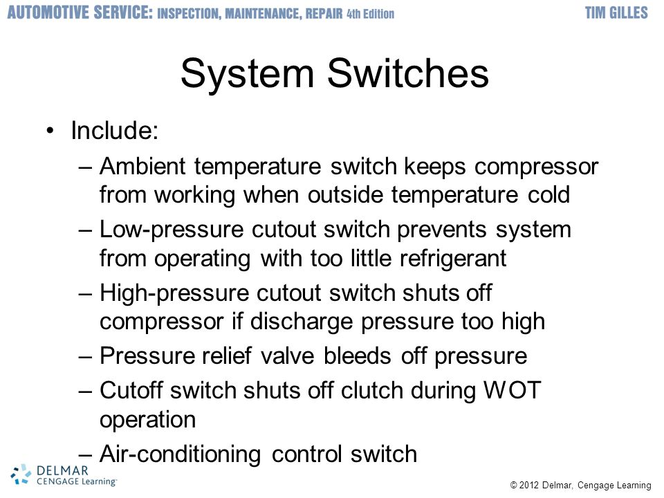 System Switches Include: