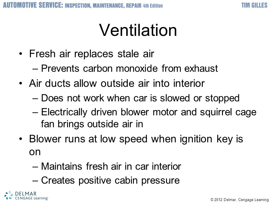 Ventilation Fresh air replaces stale air