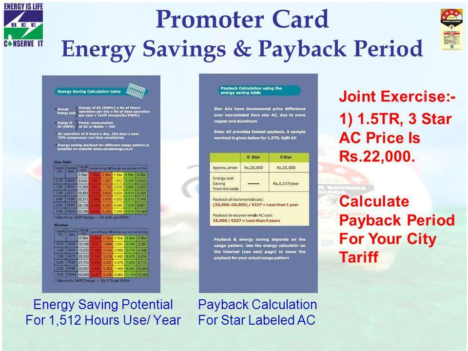 Promoter Card Energy Savings & Payback Period