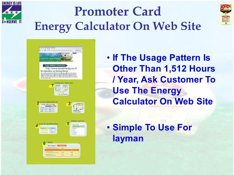 Promoter Card Energy Calculator On Web Site