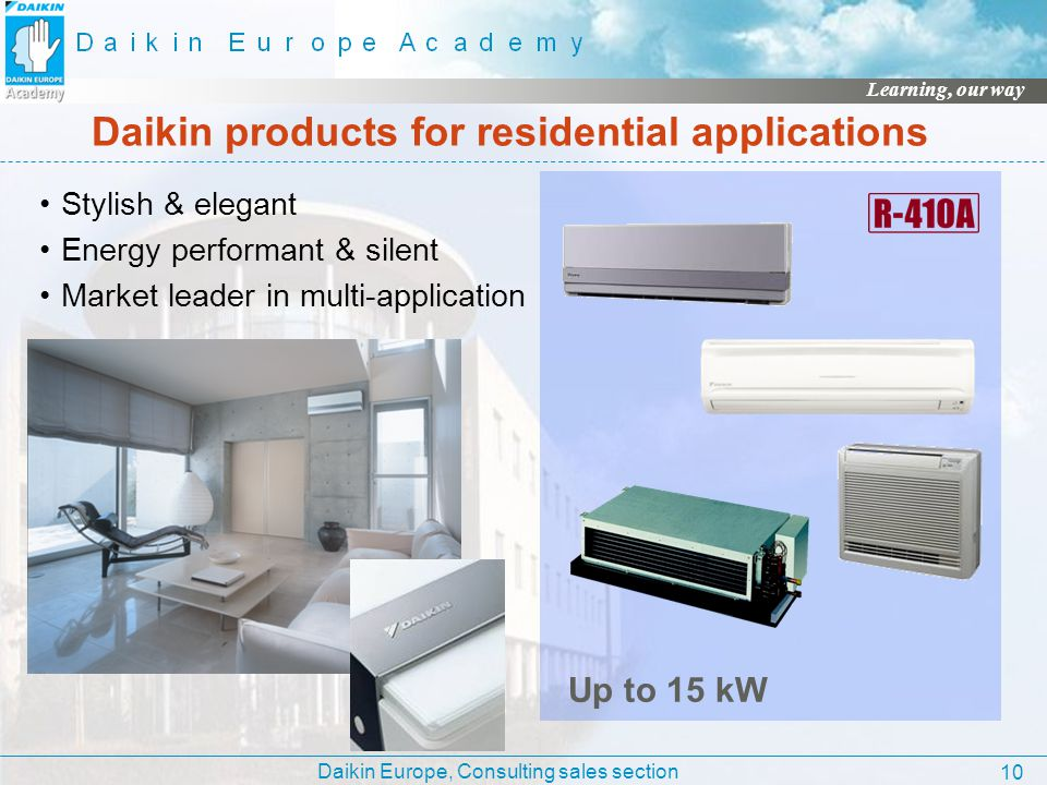 Daikin products for residential applications