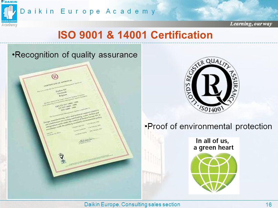 ISO 9001 & 14001 Certification Recognition of quality assurance
