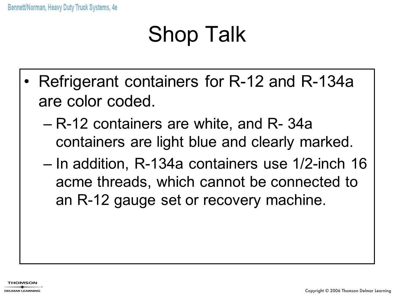 Shop Talk Refrigerant containers for R-12 and R-134a are color coded.