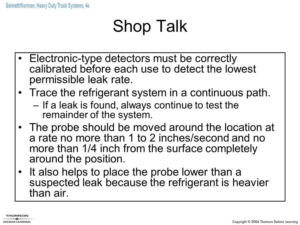 Shop Talk Electronic-type detectors must be correctly calibrated before each use to detect the lowest permissible leak rate.