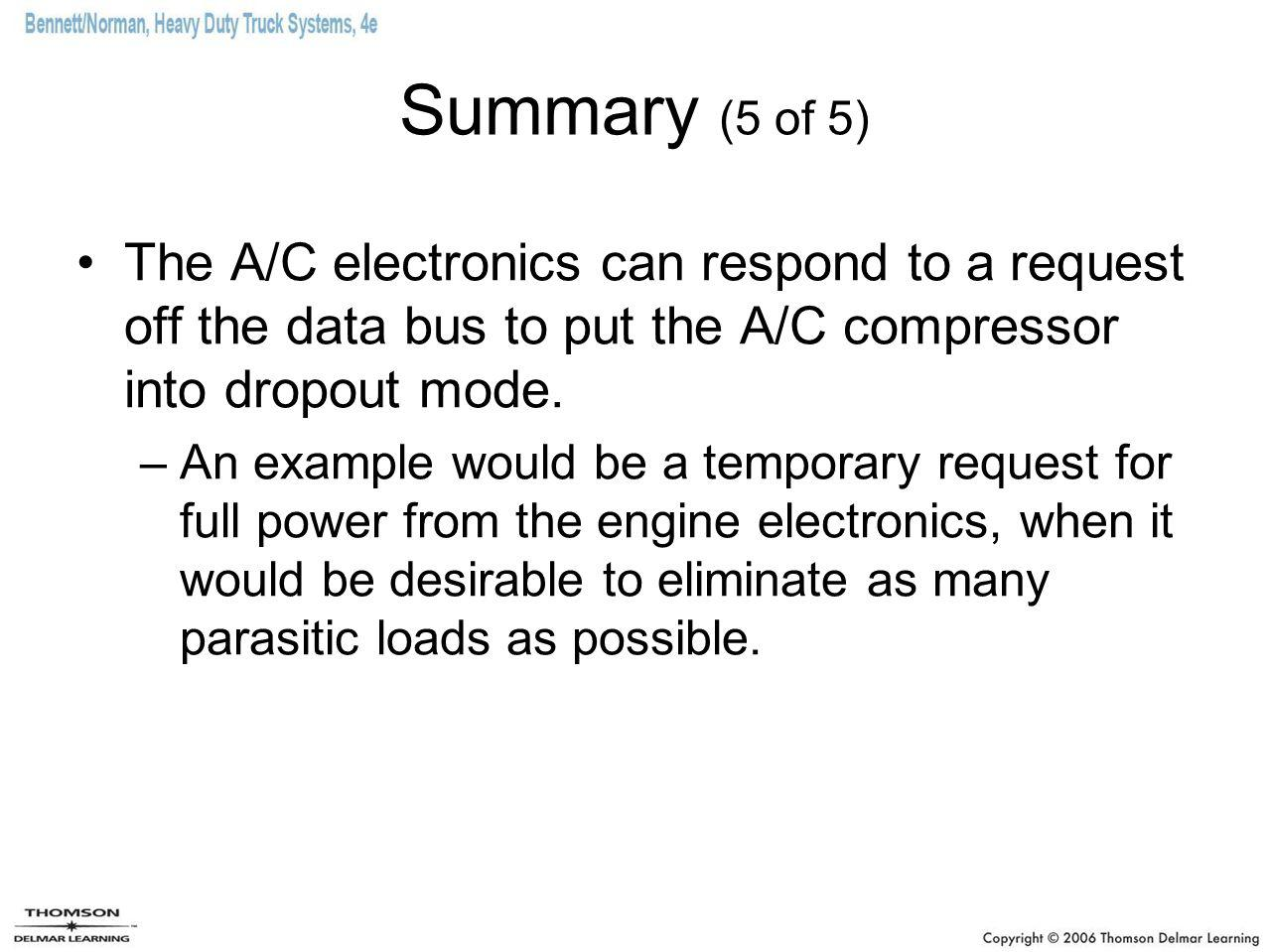 Summary (5 of 5) The A/C electronics can respond to a request off the data bus to put the A/C compressor into dropout mode.