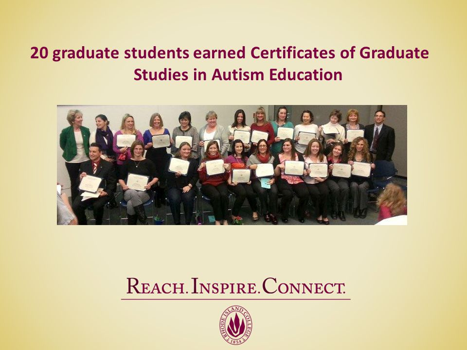 20 graduate students earned Certificates of Graduate Studies in Autism Education