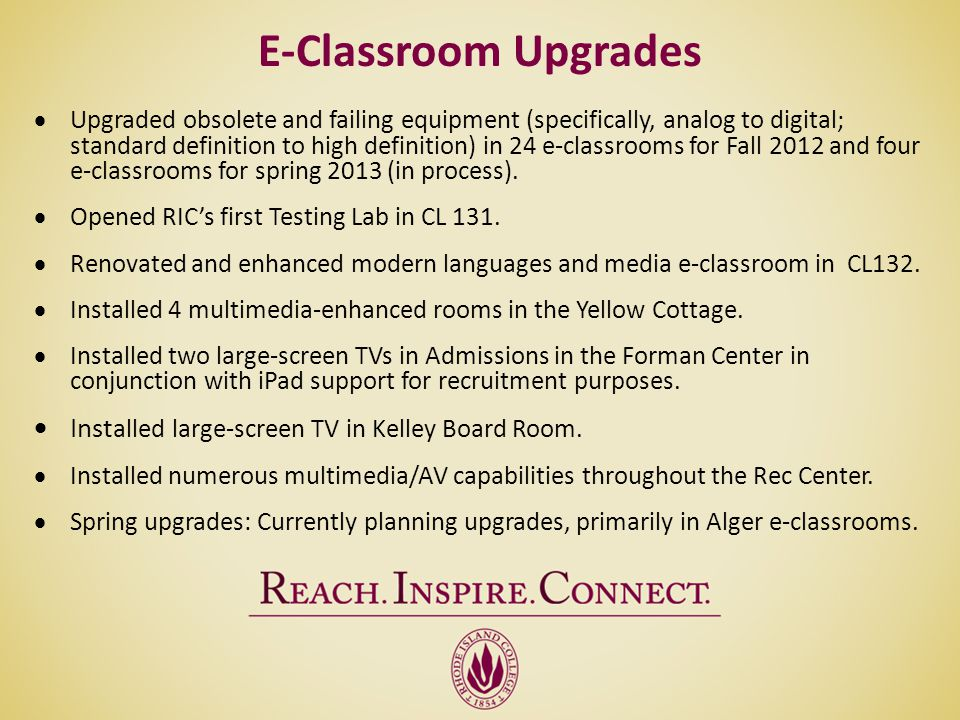 E-Classroom Upgrades Installed large-screen TV in Kelley Board Room.