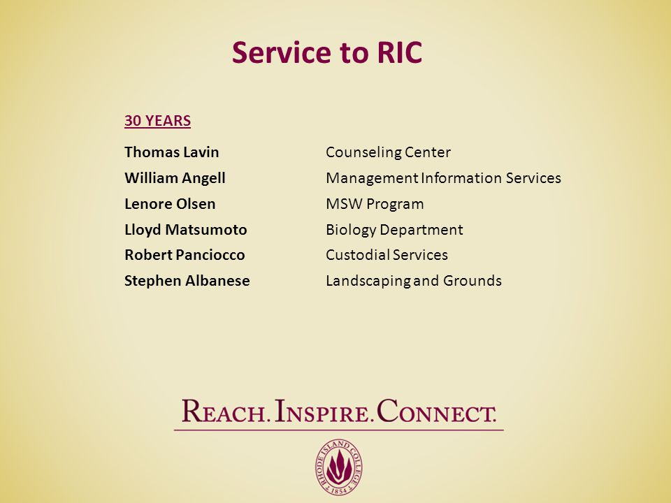 Service to RIC 30 YEARS Thomas Lavin Counseling Center