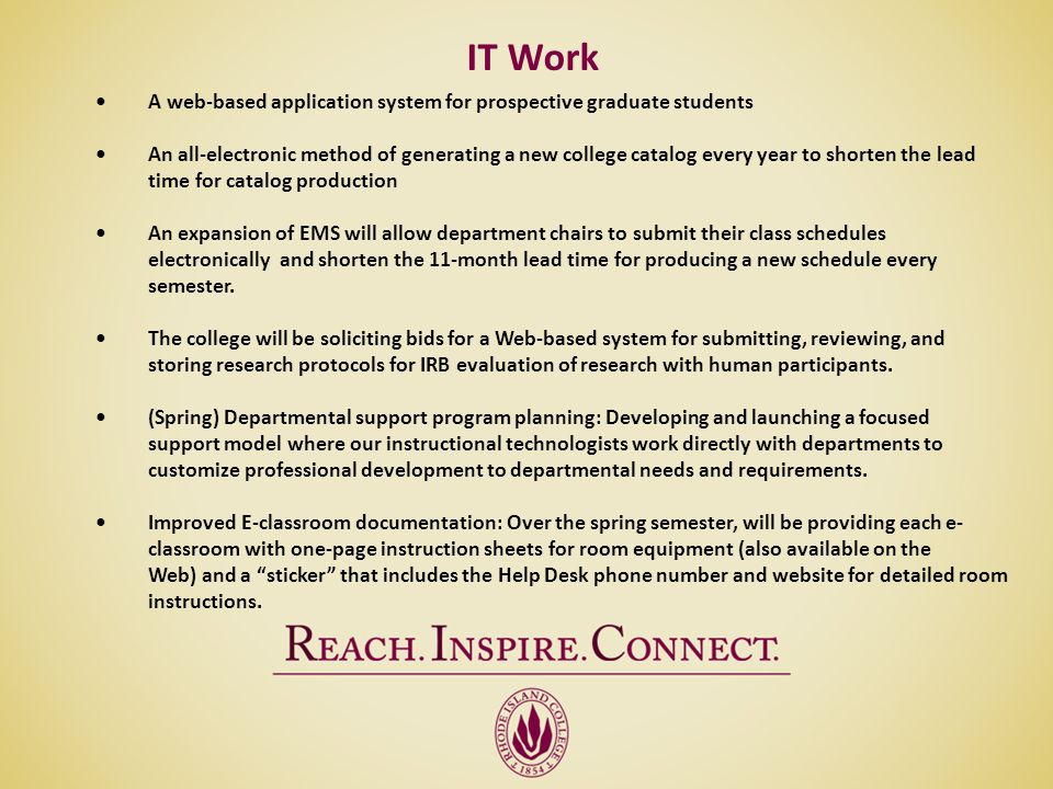 IT Work • A web-based application system for prospective graduate students.