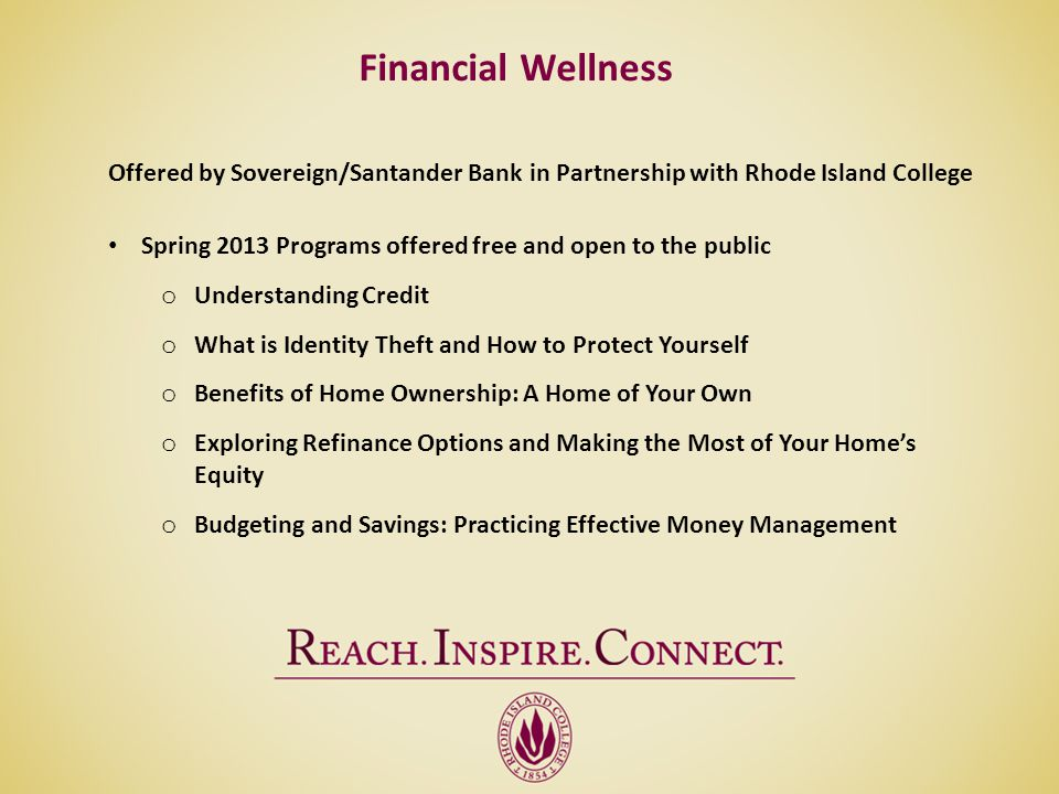 Financial Wellness Offered by Sovereign/Santander Bank in Partnership with Rhode Island College.