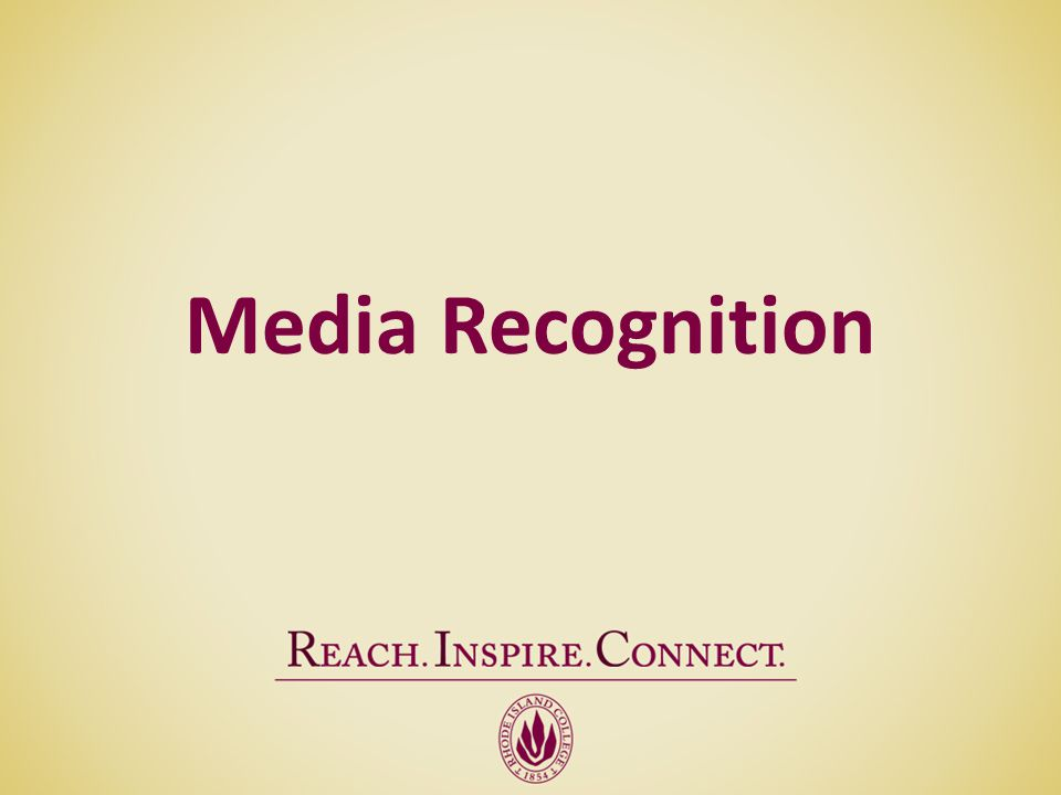 Media Recognition