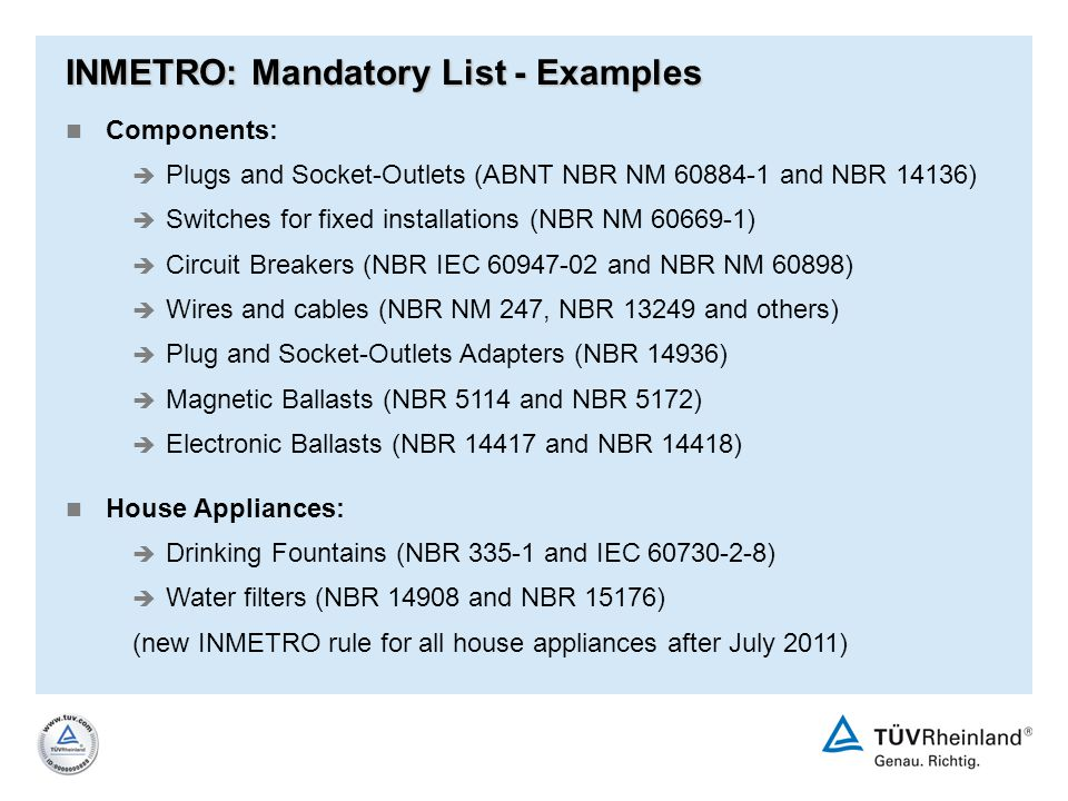 INMETRO: Mandatory List - Examples