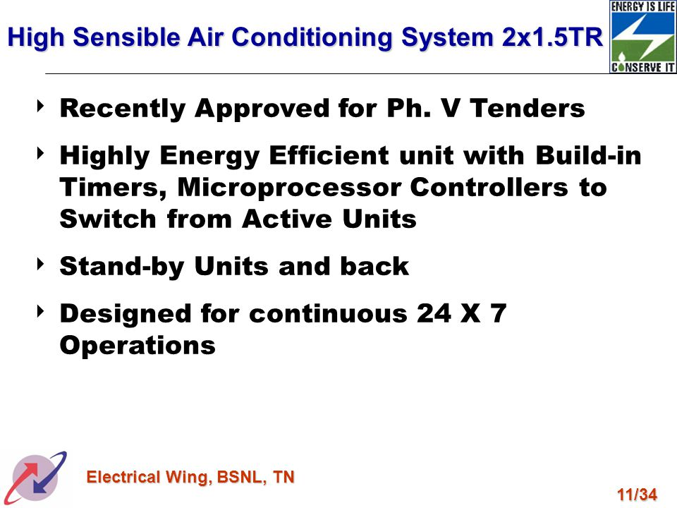 High Sensible Air Conditioning System 2x1.5TR